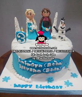Frozen Elsa Anna Olaf Birthday Cake Fondant