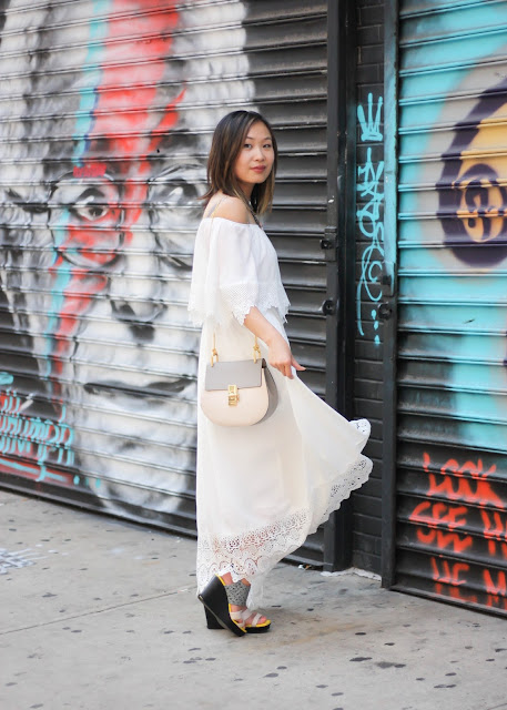 White Romantic Dress and Chloe Bag