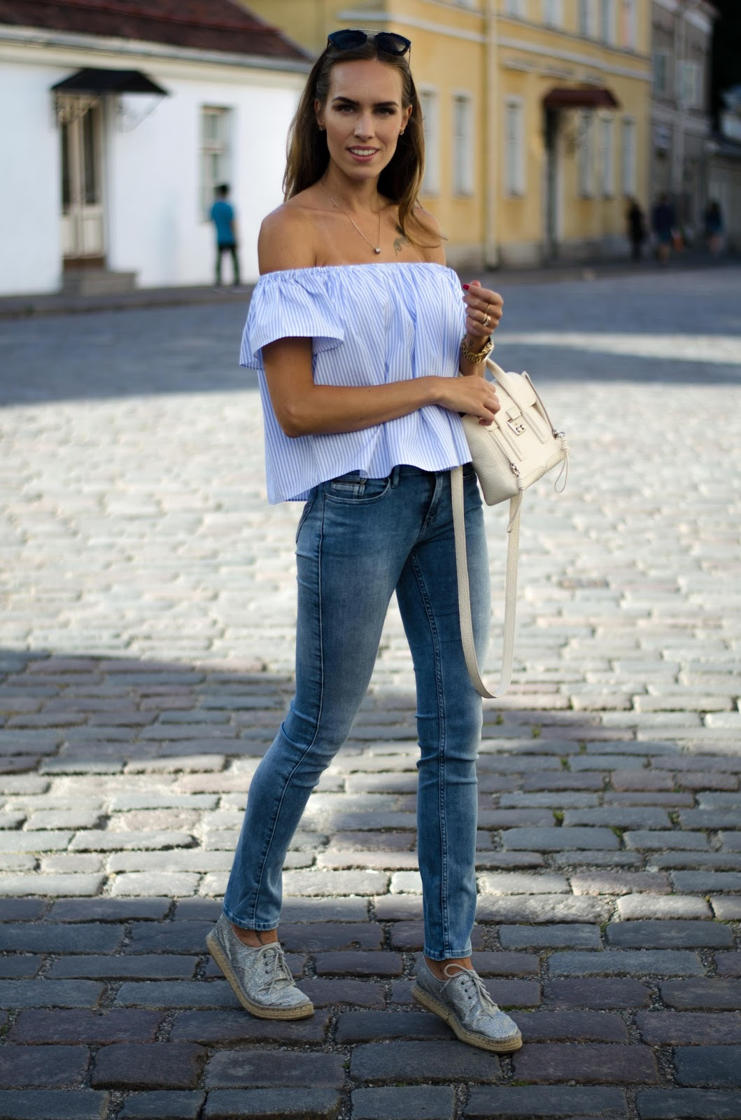 kristjaana mere off shoulder top with jeans outfit