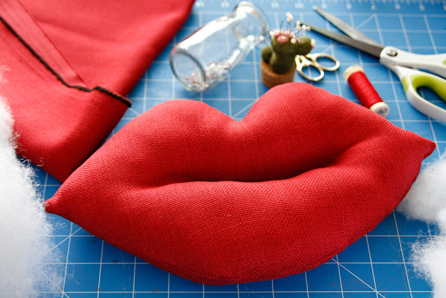 Homemade squeaky stuffed lips dog toy