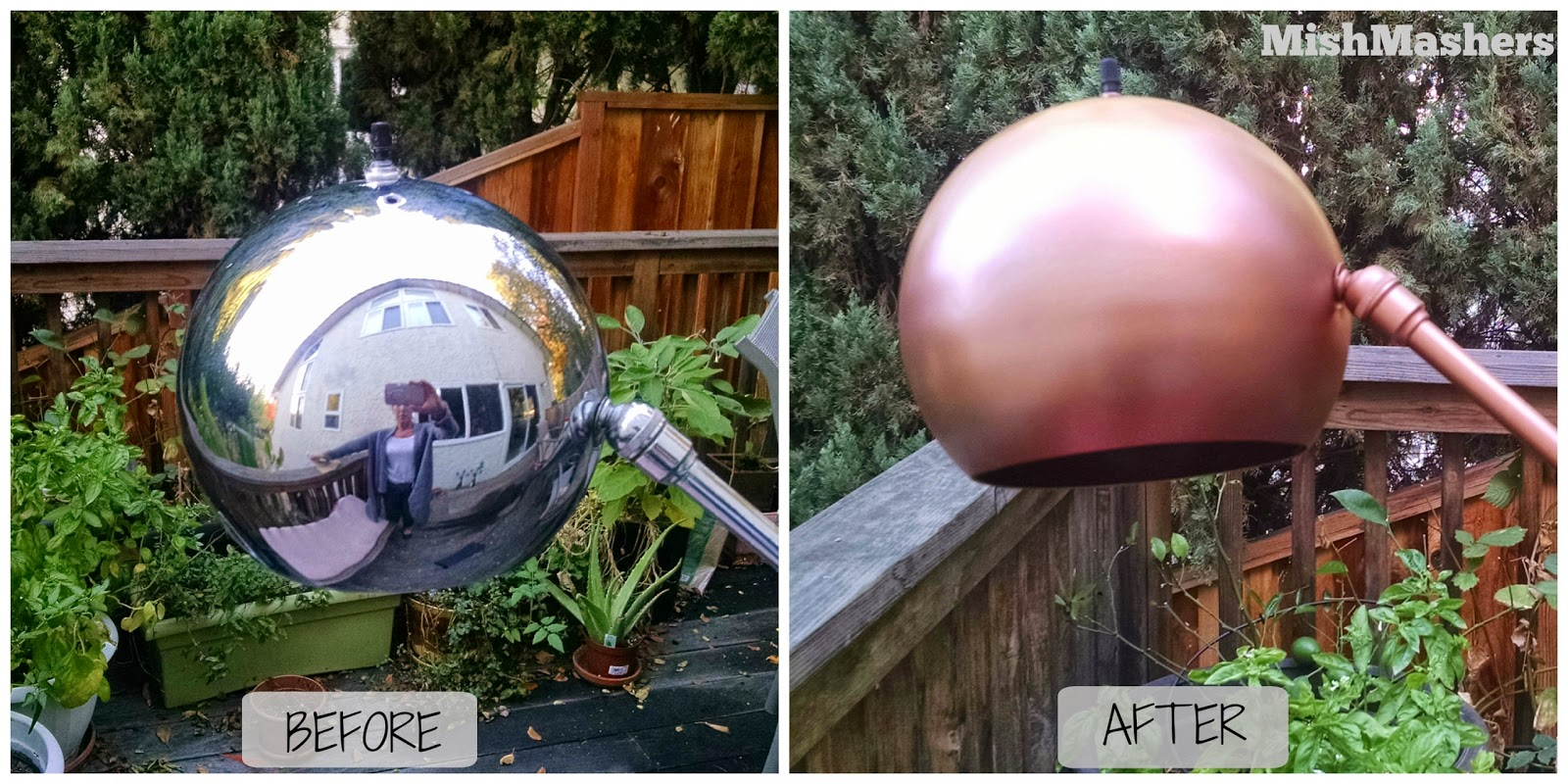 MishMashers: Copper Floor Lamp Redo with Spray Paint