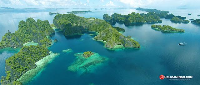 Foto Udara Kep Raja Ampat di pulau Misool
