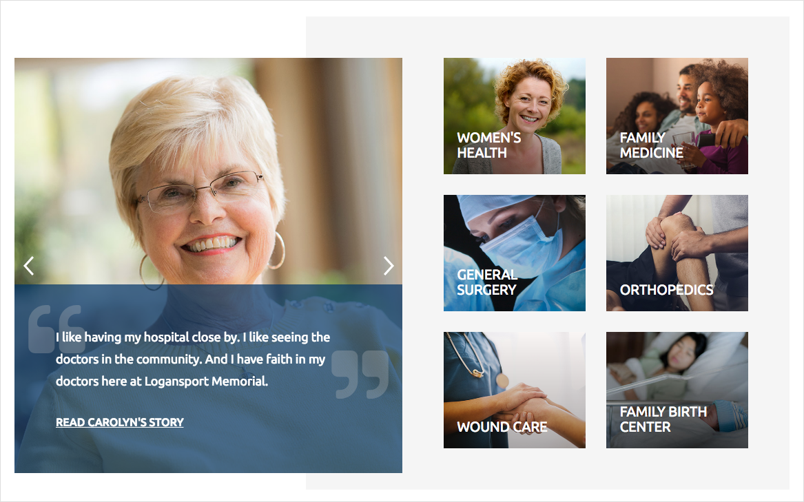 Logansport Memorial Hospital incorporates testimonials from patients throughout their website