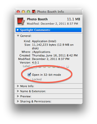Run in 32-bit mode if Photo Booth freezes and crashes