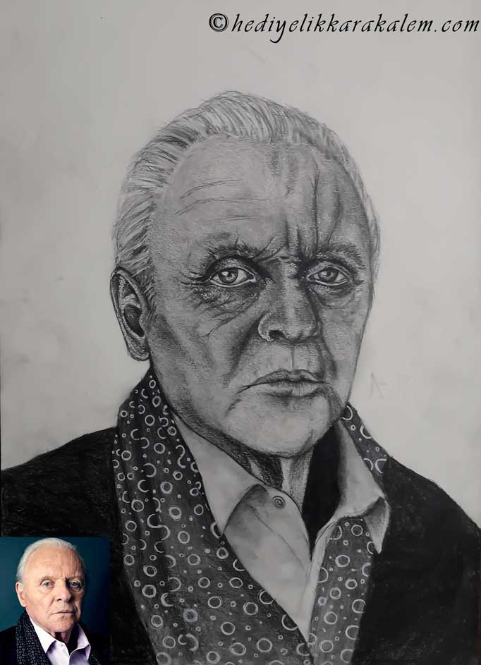 KARAKALEM PORTRE FİYATLARI ANTHONY HOPKINS DRAWING HEDİYELİK KARAKALEM