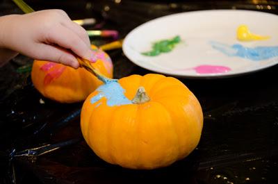 Halloween craft painting baby pumpkins