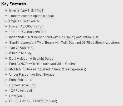 key features Ford Ecosport Trend 1.5L MT