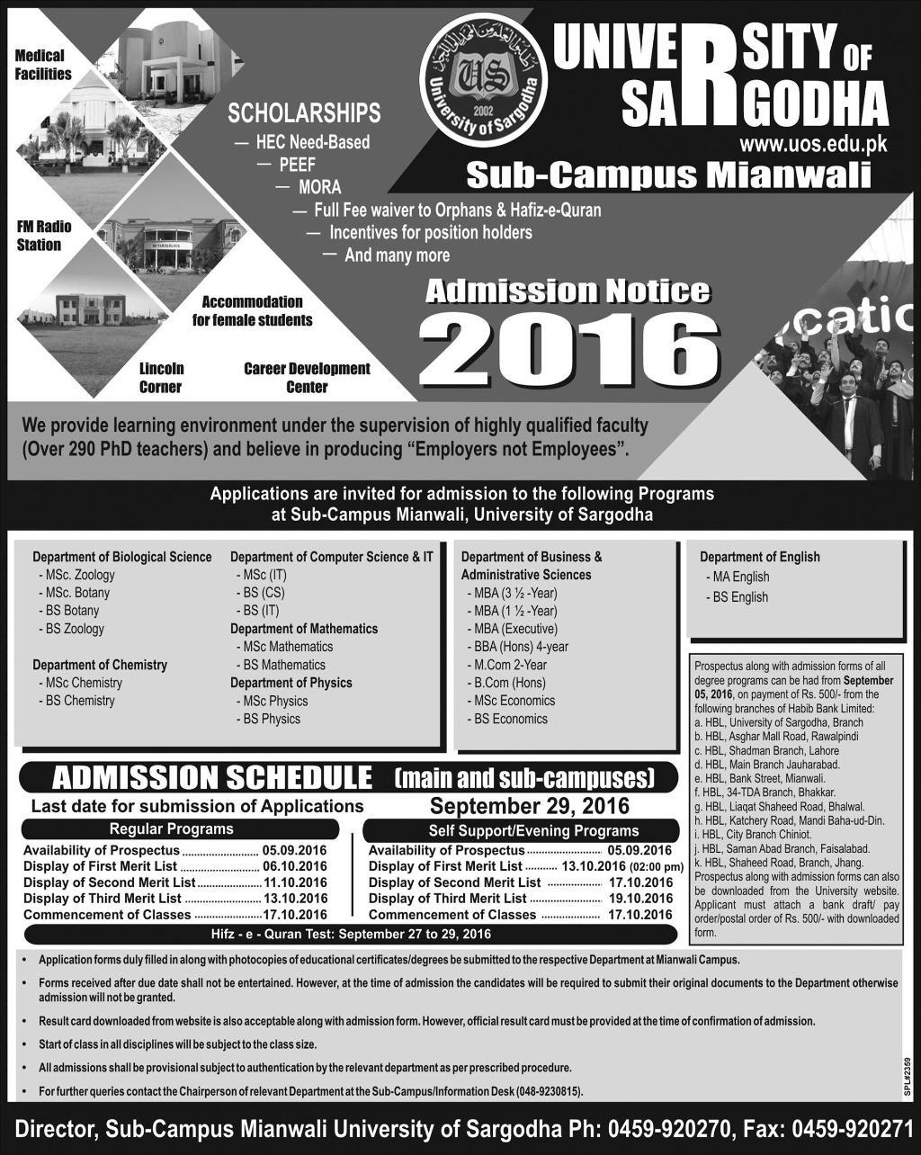 Sargodha University Sub Campus Mianwali Admissions 2016-17