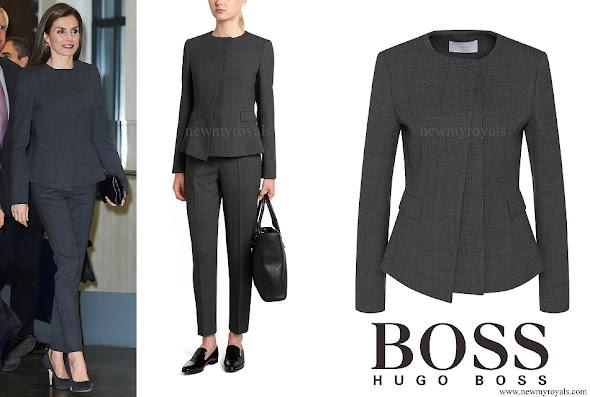 Queen Letizia wore HUGO BOSS Jadela Stretch Virgin Wool Asymmetrical Blazer