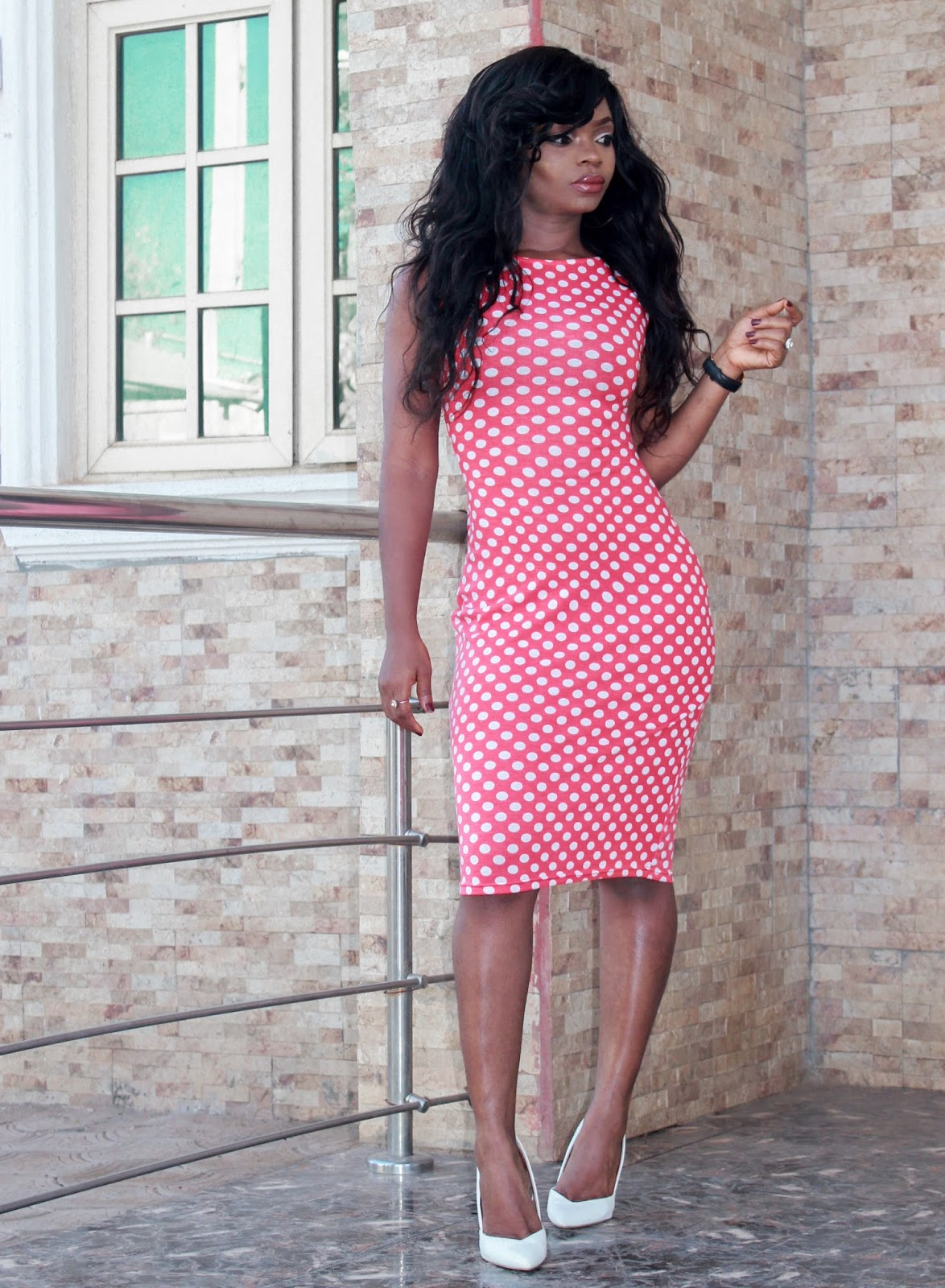 POLKADOT - Red & White Polka dot dress