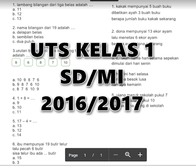 Contoh Soal UTS SD/MI Kelas 1