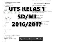 Contoh Soal UTS Kelas 1 SD/MI Tahun Ajar 2016/2017