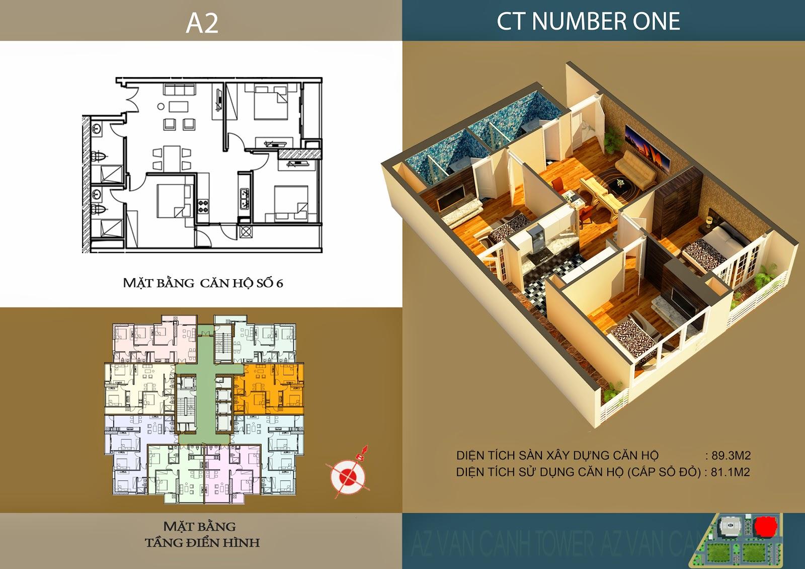 Căn số 6 - Diện tích 89.3m2 tại tòa A2 Chung cư CT Number One