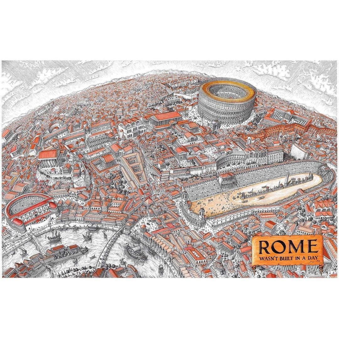 01-Rome-wasn-t-built-in-a-Day-Jeff-Murray-Detailed-Miniature-Real-and-Imaginary-Urban-Drawings-www-designstack-co