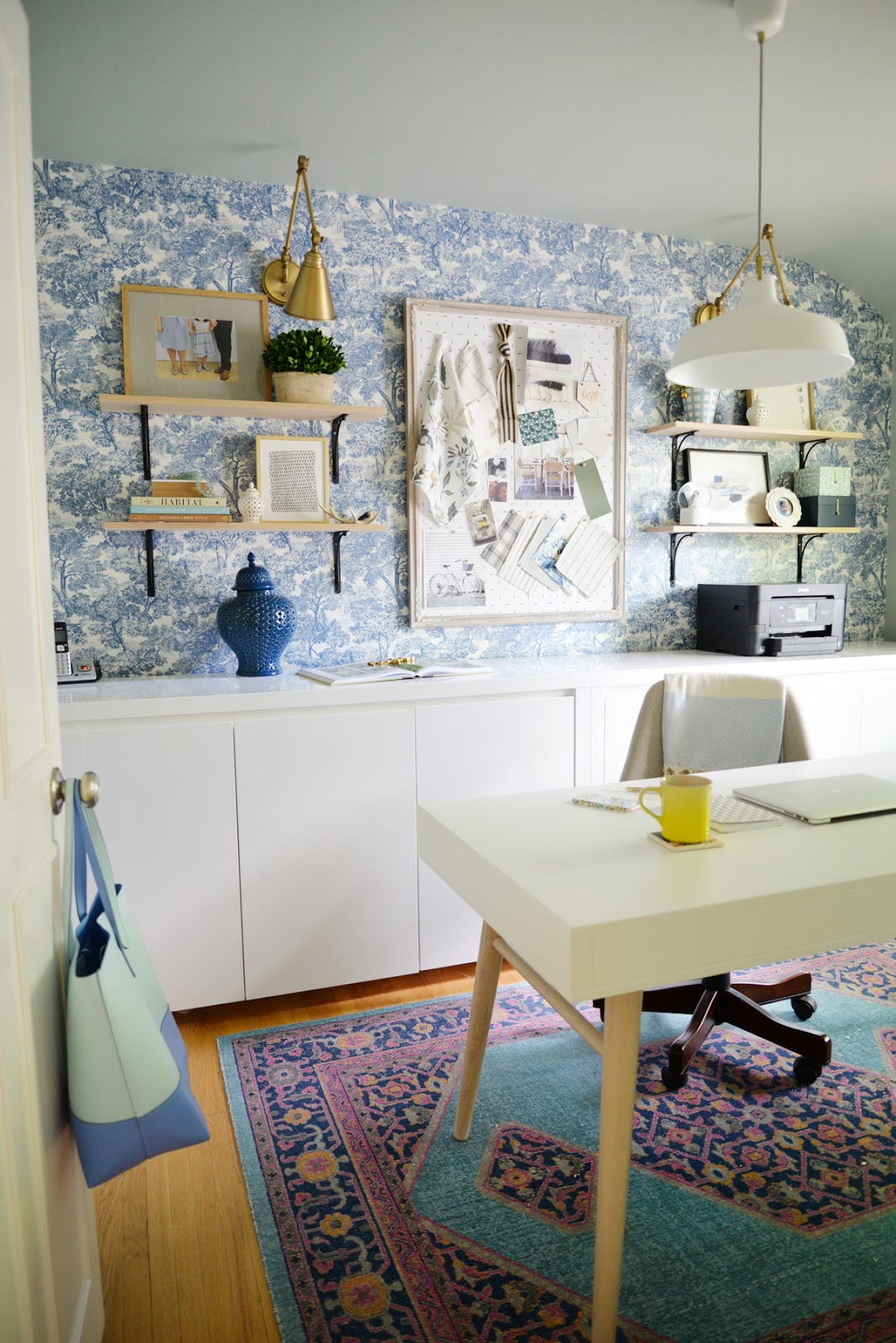 feminine home office, modern traditional office, Rambling Renovators, wallpaper and brass sconces