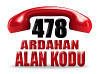 0478 Ardahan telefon alan kodu