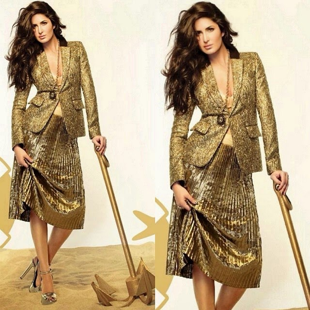katrina kaif , bollywood ,,  Katrina Kaif Golden Dress hot Pics from Vogue Magazine December 2014 Edition