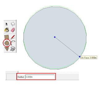 Menggunakan Perintah/Tool Circle Untuk Membuat Lingkaran di Google SketchUp