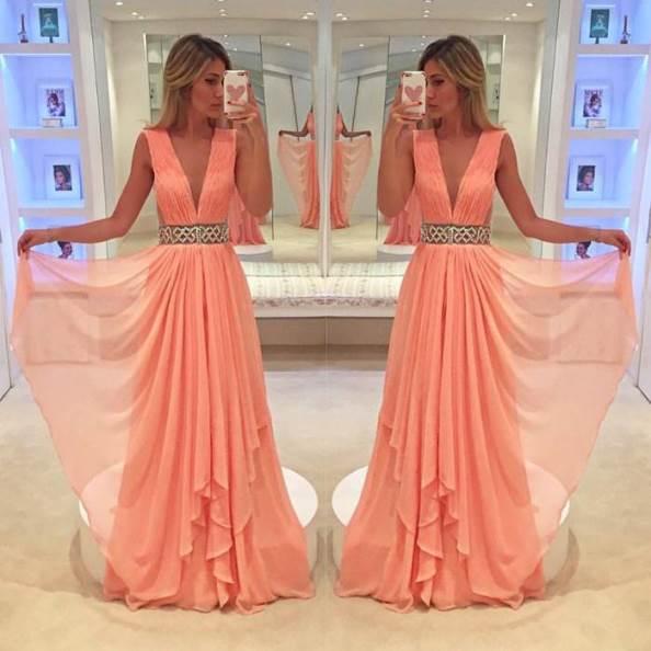 vestido de festa coral, salmão ou pêssego