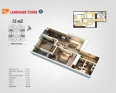 Mặt bằng căn hộ D 73m2 - HP Landmark - The Pride