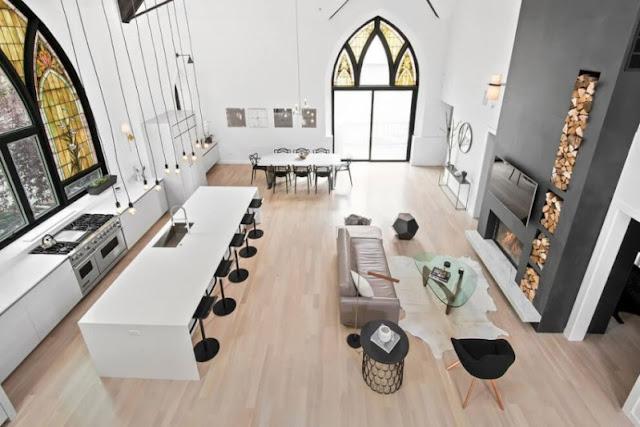 salon, cocina y comedor en un mismo espacio chicanddeco