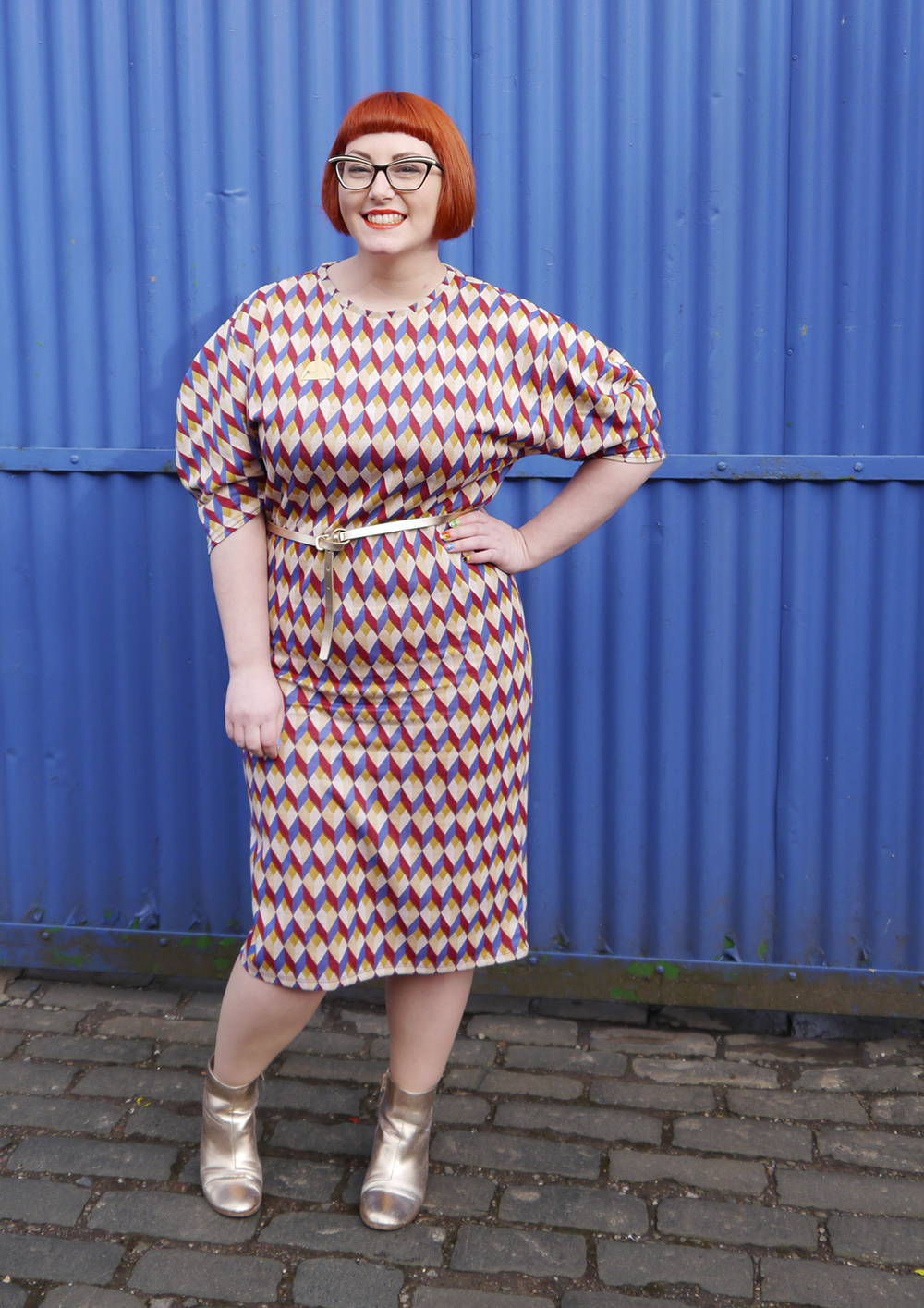 Scottish blogger wearing colourful patterened Zara dress for Spring