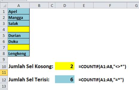 Fungsi COUNTIF menghitung cell kosong dan tidak kosong.