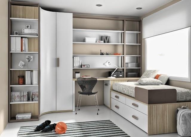 Dormitorio juvenil con armario de rincon - Distribucion habitacion juvenil ...
