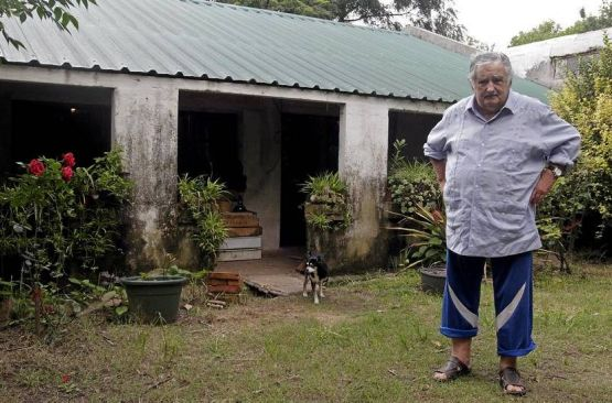 Uruguayan President Jose Mujica chose not to live in the palatial Presidential House and instead stayed back in the tiny, one-bedroom house of his wife beside the farm, which receives water from the well and greets visitors with laundry strung outside the house.