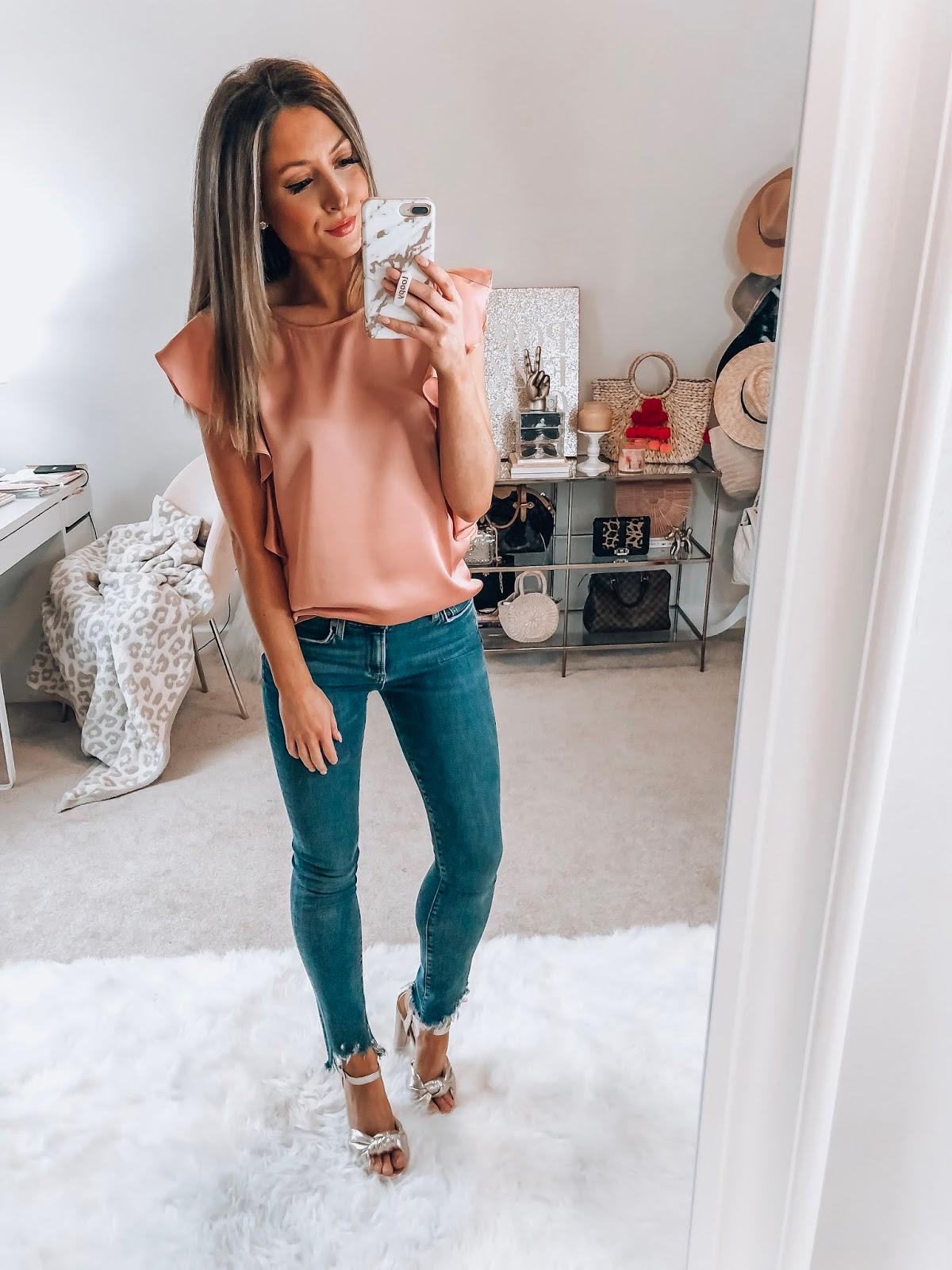 nordstrom cece pink flutter sleeve satin blouse