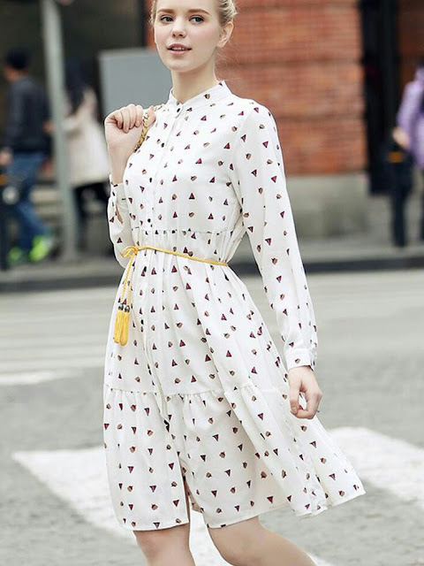 Yellow bald white printed dress