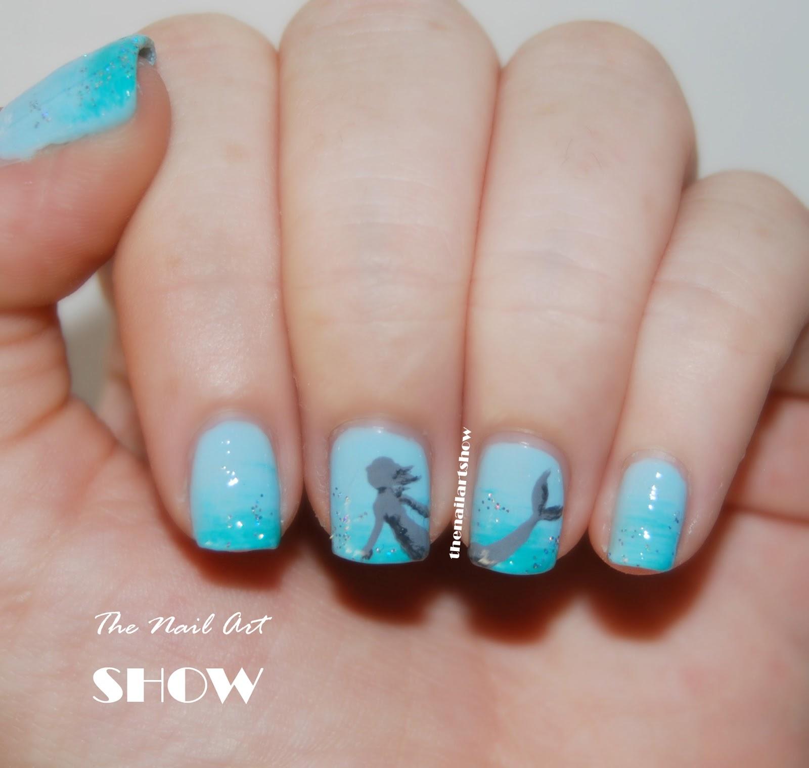 June Nail Art Challenge  Day 13: Sea Critters (Mermaid ...