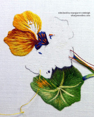Second thread painted nasturtium flower petal. (Catherine Laurencon Capucines (Inspirations))