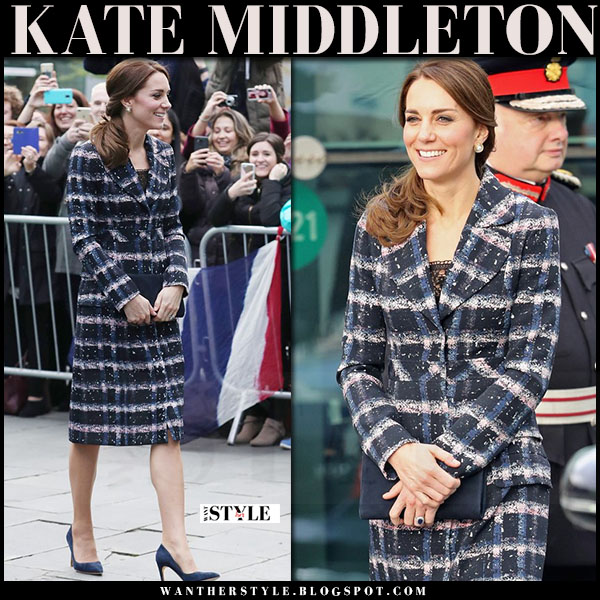 Kate Middleton in blue check print erdem coat and blue suede pumps what she wore fall style