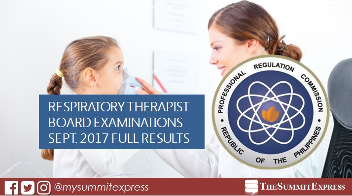 September 2017 Respiratory Therapist board exam passers list, top 10