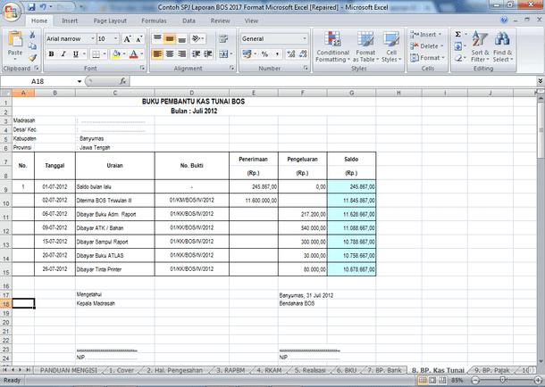 Contoh SPJ Laporan BOS 2017 Format Microsoft Excel
