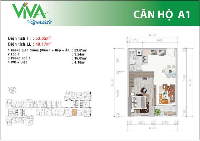 Mặt bằng căn A1 - Viva Riverside
