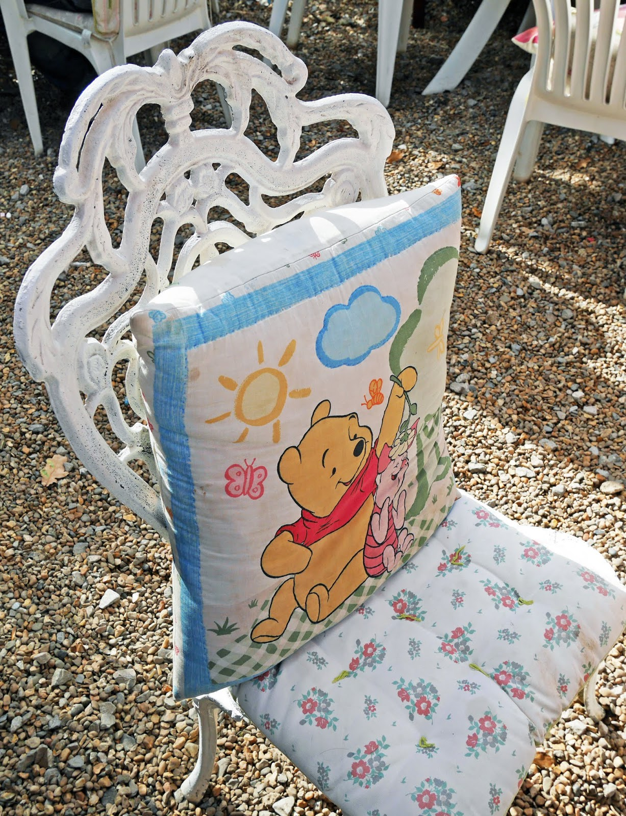 Winnie the Pooh cushion at Piglet's Tearoom in Ashdown Forest