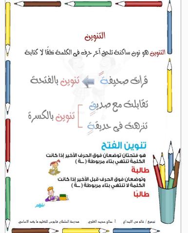 دروس في اللغة العربية للصف الثالث
