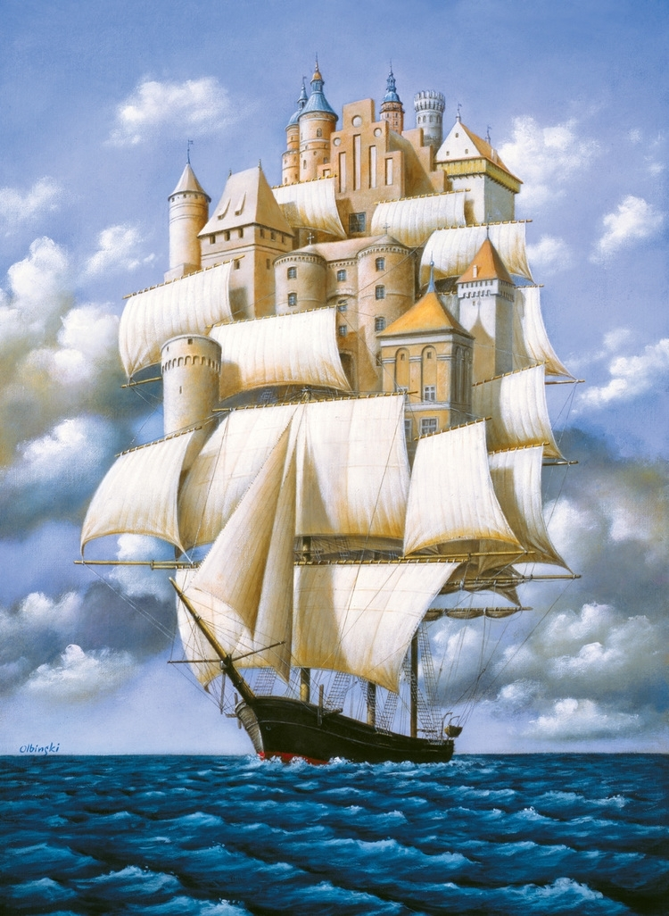 01-Ship-City-Rafal-Olbinski-Surreal-Paintings-that-Whisper-a-Message-www-designstack-co