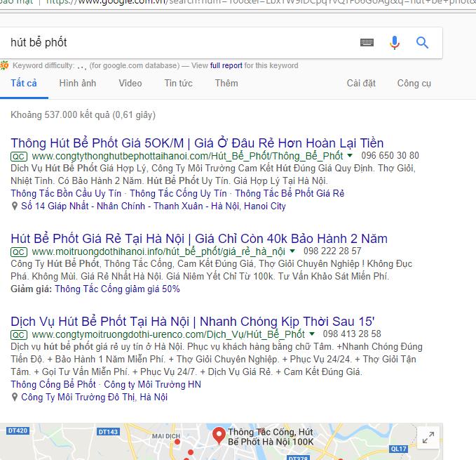 tìm với googlexem trang đầu tiên tìm được
