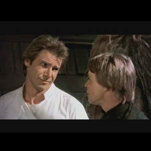 Han Solo giving Luke a sarcastic look in Star Wars.