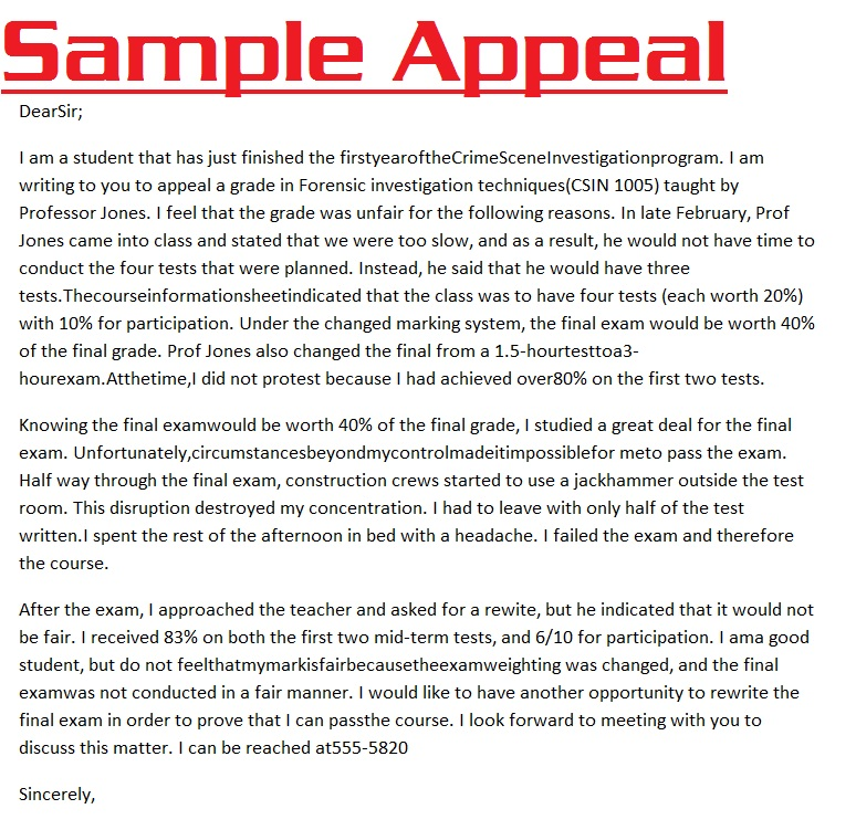 Academic Appeal Letter Example Sample At Suspension Format Portrait