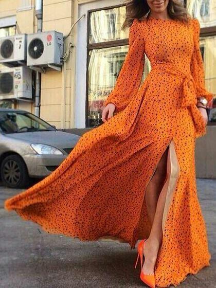 Orange Mixi Dress