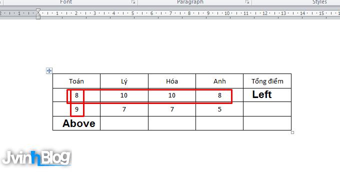 Cách tính toán trong bảng Word 2007, 2010, 2013, 2016 FULL