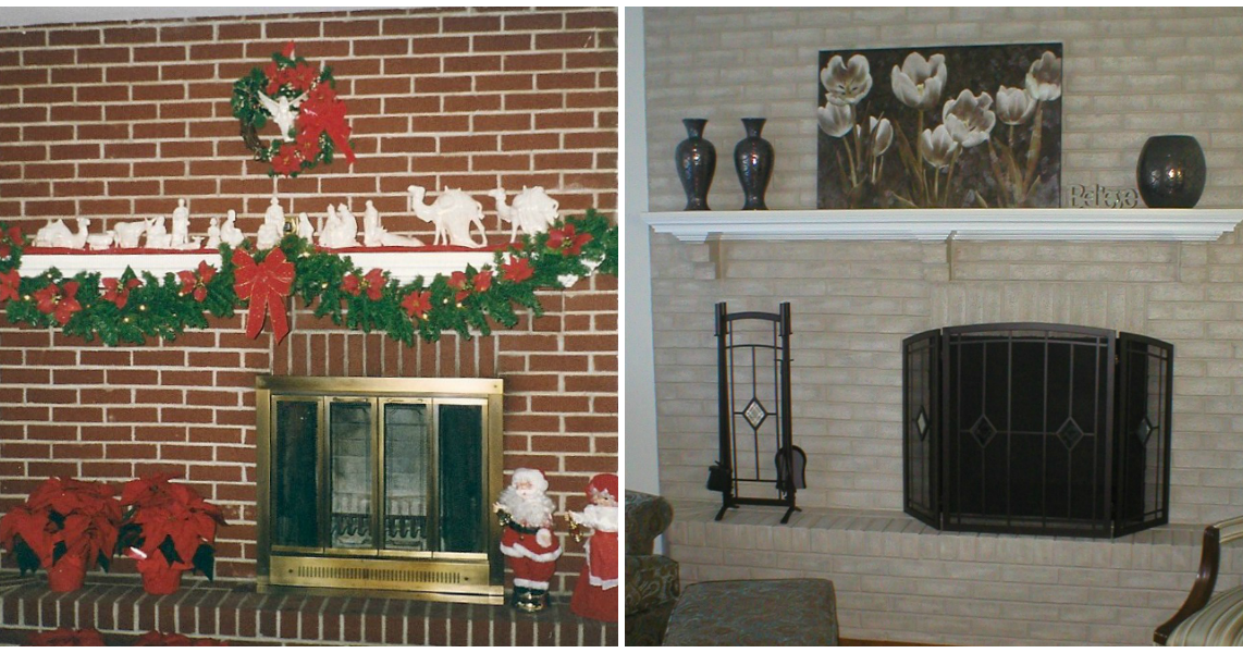 Fireplace decorating new look to my outdated brick fireplace - How to make a brick fireplace look modern ...