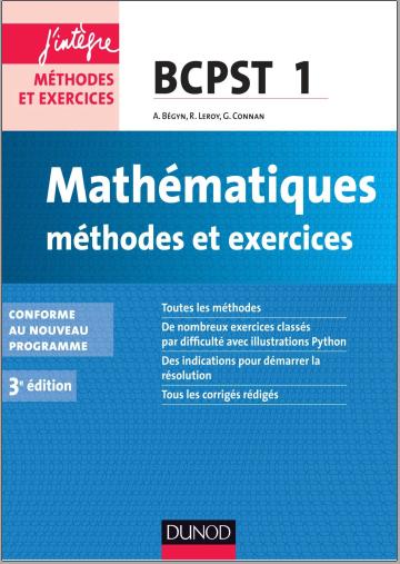 Livre : Mathématiques, Méthodes et Exercices BCPST 1re année - 3e édition Dunod PDF