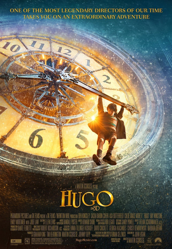 Asa Butterfield as Hugo dangling from minute hand of giant clock reading just after 8:15