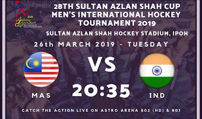 Live Streaming Malaysia vs India Hoki Piala Sultan Azlan Shah 26.3.2019