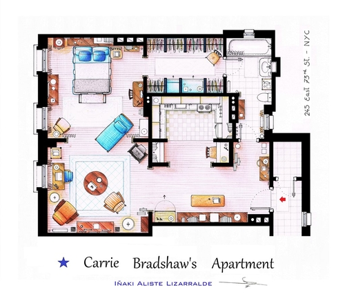 05-Sex-And-The-City-Carrie-Bradshaw-Apartment-Floor-Plan-Inaki-Aliste-Lizarralde